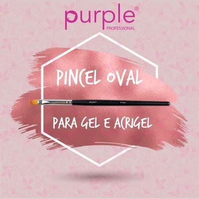 Pincel Nylon Oval para Gel / Acrigel #8 Purple