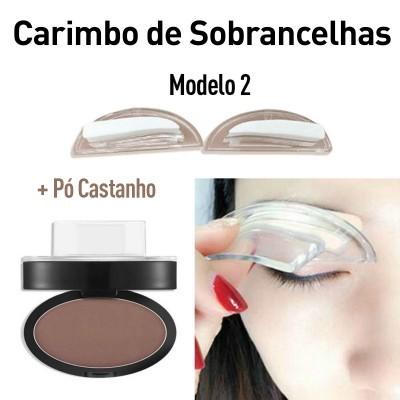 Carimbo de Sobrancelhas Modelo 2 + Pó Castanho