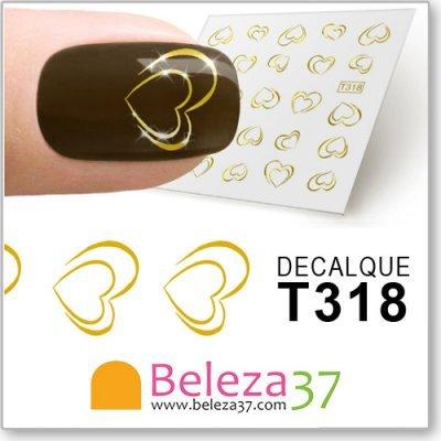 Decalques dos Corações em Ouro (T318)