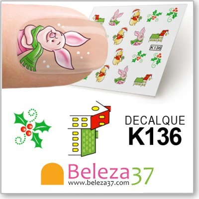 Decalques de Natal do Winnie the Pooh (K136)