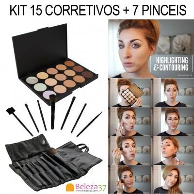 Kit de Maquilhagem de 15 Corretivos + 7 Pinceis