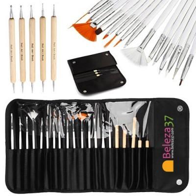 Bolsa com 20 Peças para Nail Art - 15 Pincéis e 5 Dotting Pens