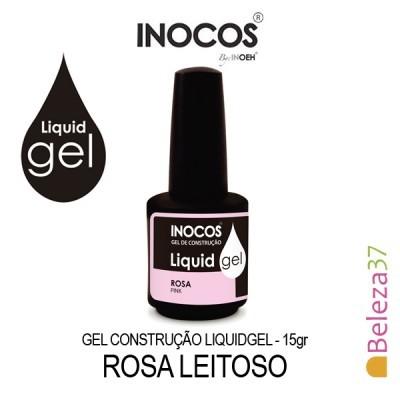 Gel Construção LIQUID GEL Inocos 15ml - Rosa Leitoso