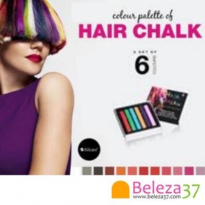 6 Cores Hair Chalk – Giz Pastel para Colorir Temporariamente o Cabelo