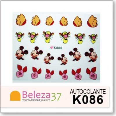 Autocolantes com o Mickey, Winnie the Pooh, Tigrão e Leitão (K086)