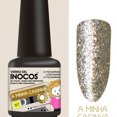 Verniz Gel Inocos – 208 - A Minha Casinha (Glitter Champanhe)