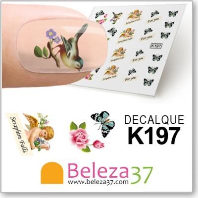 Decalques com Cupido, Passarinhos, Flores e Borboletas (K197)