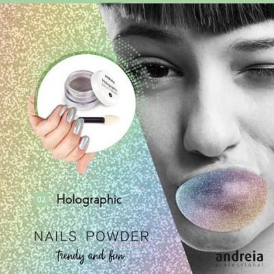 Pó de Efeito Andreia – Holographic Nails Powder – Efeito holográfico + Aplicador