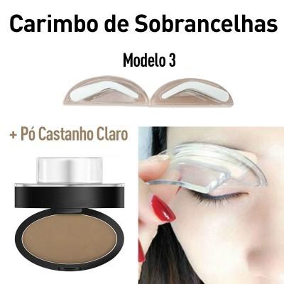 Carimbo de Sobrancelhas Modelo 3 + Pó Castanho Claro