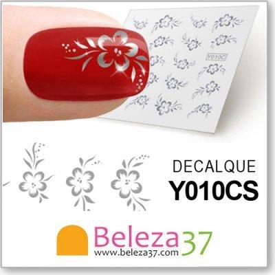 Decalques com Rosas Metálicas em Prata (Y010CS)