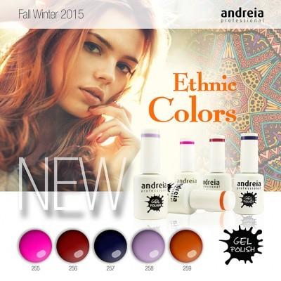 """Verniz Gel Andreia – 5 Cores da Coleção """"Ethnic Colors"""""""