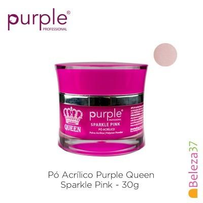 Pó Acrílico Purple Queen 30g - Sparkle Pink (Rosa com brilhos)