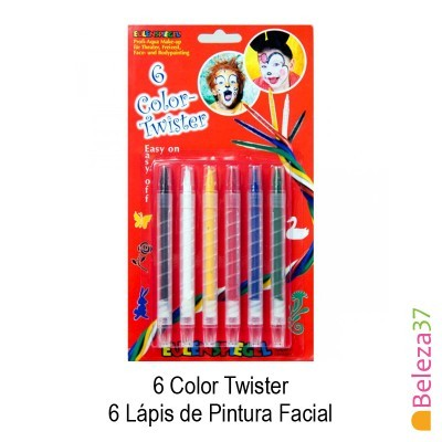 6 Color Twister - 6 Lápis de Pintura Facial