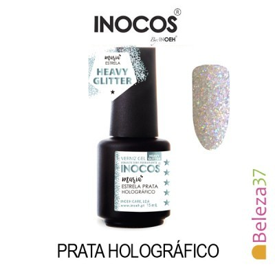 Verniz Gel Inocos - 131 - Maria Estrela Prata Holográfico