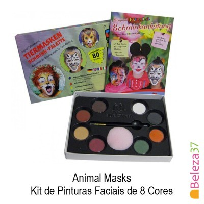 Animal Masks - Kit de Pinturas Faciais de 8 Cores