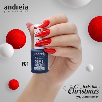 The Gel Polish Andreia FC1 (Vermelho com Glitter Dourado e Vermelho)