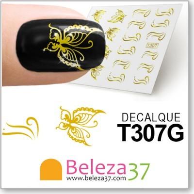 Decalques das Borboletas em Ouro (T307G)