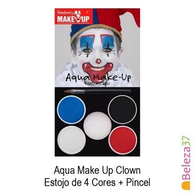 Estojo de 4 Cores Pinturas Faciais + Pincel - 01 - Clown (Palhaço) Aqua Make Up