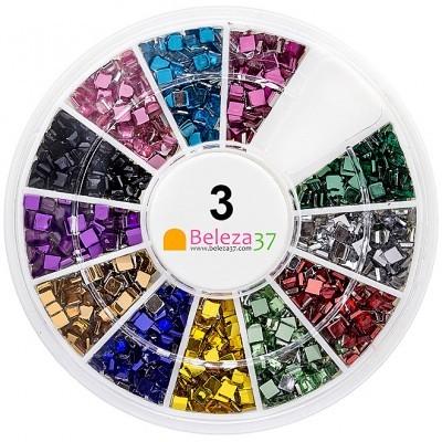 Roda 3 – 500 Brilhantes Quadrados em 12 cores