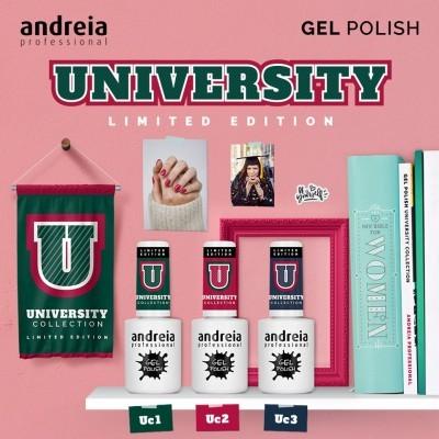 """Verniz Gel Andreia – 3 Cores da Coleção """"UNIVERSITY"""""""