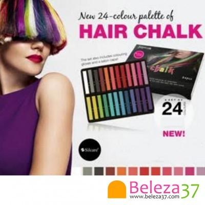 24 Cores Hair Chalk – Giz Pastel para Colorir Temporariamente o Cabelo