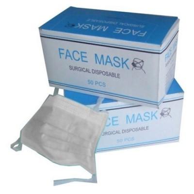 Máscaras Faciais Descartáveis de Capa Tripla com Elástico - 50 unidades