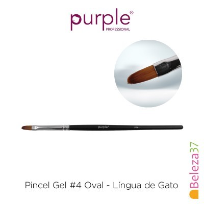 Pincel Gel #4 Oval Purple - Língua de Gato