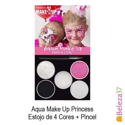 Estojo de 4 Cores Pinturas Faciais + Pincel - 02 - Princess (Pricesa) Aqua Make Up