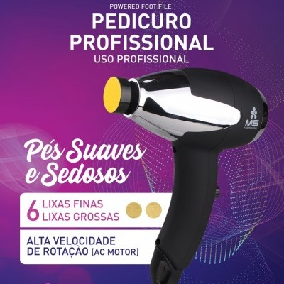 Lixa Elétrica Pedicuro MS Professional com 12 Recargas