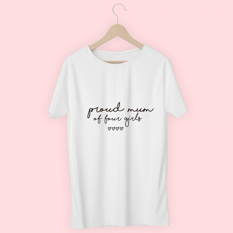 T-shirt personalizada Proud Mum (letra manuscrita)