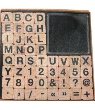 Alfabeto, números e pontuação