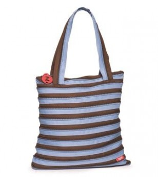 Extra Large Tote Bag Ocean Blue & Soft Brown
