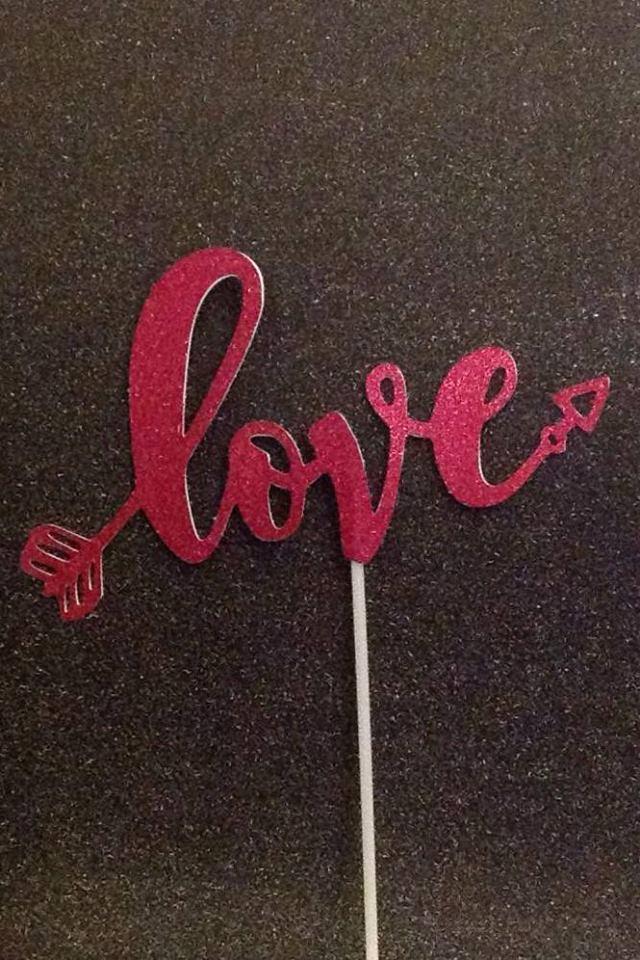 Topper Love glitter