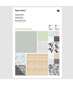 Bloco Folhas - Graphic Hot Foil Gold & Silver