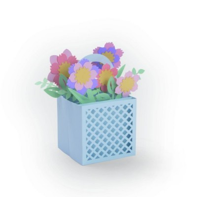 Card in a box, flower basket