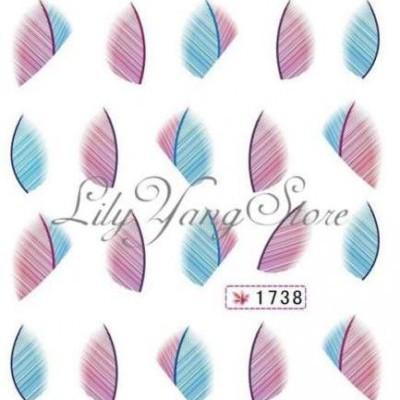 Decalques Penas Azul e Roxo - 1738