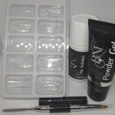Kit de Poligel BND - Bisnaga de Poligel, Liquido, Pincel espátula e Dual Forms