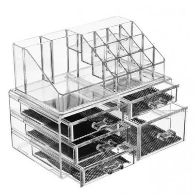 Organizador de Maquilhagem - Acrílico com 5 gavetas e cubículos para 12 batons