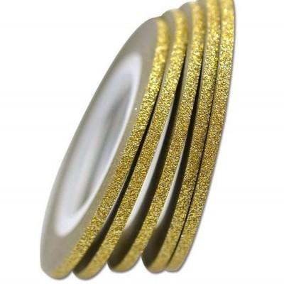 Fita Metálica Fina com Glitter - Dourada