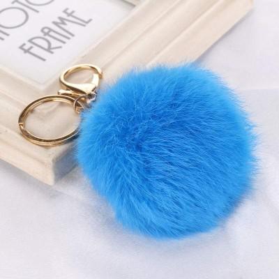 Porta-Chaves Pompom Pequeno Azul Médio