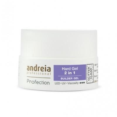 Andreia Hard Gel - 2 in 1 - Glitter Clear - 44 grs