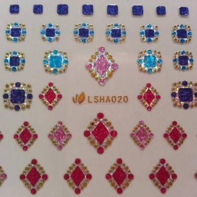 Autocolantes 3D com quadrados e losangos brilhantes LSHA020