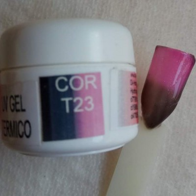 Gel Térmico T23 - Castanho / Rosa com Glitter
