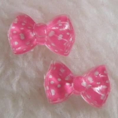 Laços Cor de Rosa com Bolinhas Brancas