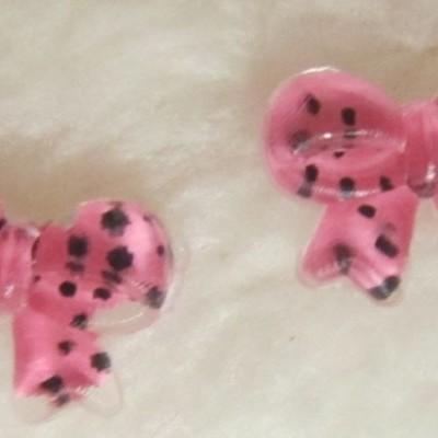 Laços com fitas Cor de Rosa com Bolinhas Pretas