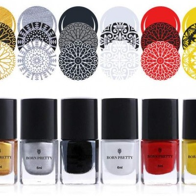 Tintas para Carimbo Born Pretty - 5 Cores - 6 ml
