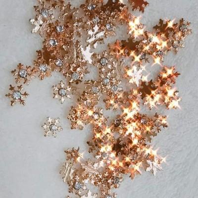 Flocos de Neve Dourados 3D