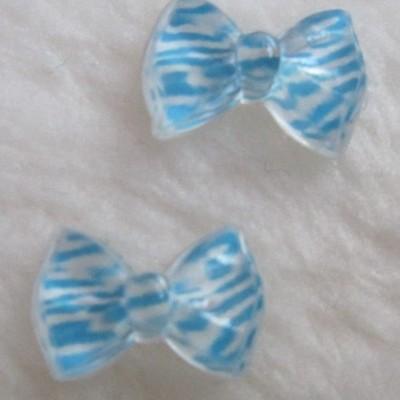 Laços Azul Claro e Branco Zebra