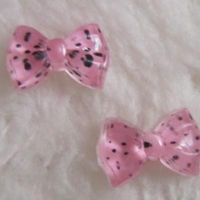 Laços Cor de Rosa com Bolinhas Pretas