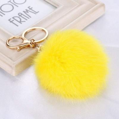 Porta-Chaves Pompom Pequeno Amarelo